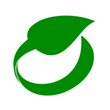 Green icon of a leaf going in a circle